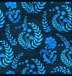 Denim floral seamless pattern faded jeans vector