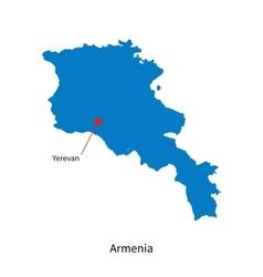 Detailed map of armenia and capital city yerevan vector