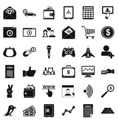 Digital working icons set simple style vector