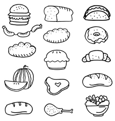 Doodle of various food vector