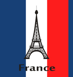 eiffel tower on background of colors of national vector image