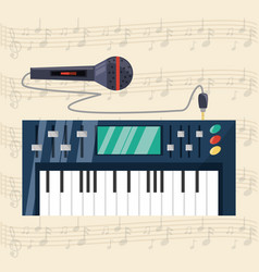 Electric keyboard with microphone concept music vector