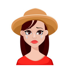 face expressions of farmer woman in hat vector image