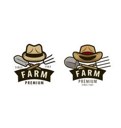 farm logo or label agriculture farming vector image