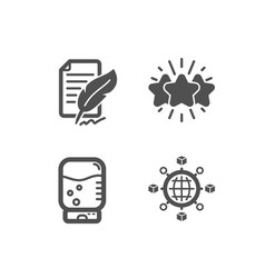 Feather signature star and water cooler icons vector