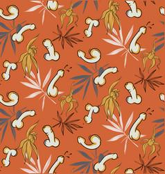 floral penis funny seamless pattern vintage spring vector image