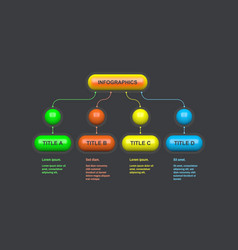 flowchart scheme infographic design with 4 steps vector image