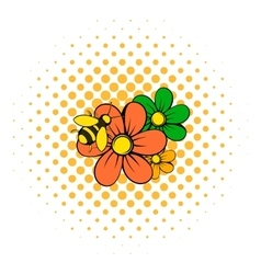 Flowers icon comics style vector image