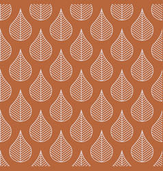 foliage line leaves seamless pattern brown vector image