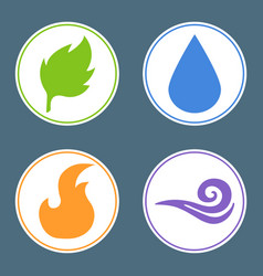 four elements fire water earth air nature element vector image