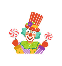 Funny circus clown in traditional makeup holding vector