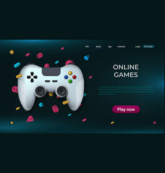 Game landing page home and online playing concept vector