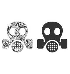 gas mask composition of service tools vector image