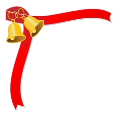 Golden wedding bell and red ribbon vector