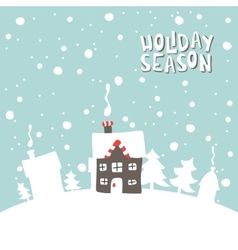 Greeting card Image gingerbread house on a snowy vector
