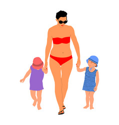 Hand holding mother with daughter and son on beach vector