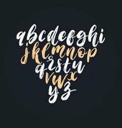 hand lettering alphabetfont dry brush vector image