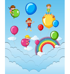Happy children on colorful balloons in the sky vector