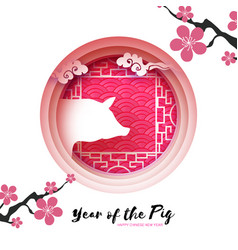 happy chinese new year greetings card in papre cut vector image