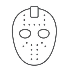 Hockey mask thin line icon helmet and mask vector