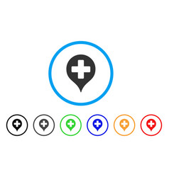 Hospital cross map marker rounded icon vector
