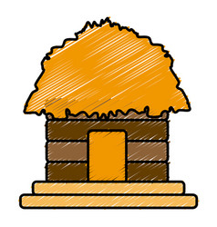 Hut house building vector