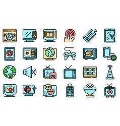 Interactive tv icons set flat vector
