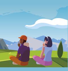 Interracial couple contemplating horizon in vector