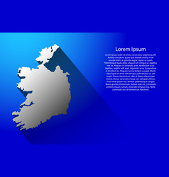 ireland map of australia with long shadow on blue vector image