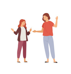 Irritated mother and daughter gesturing and scream vector
