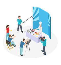 isometric cooking tv show chef and film vector image