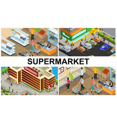 Isometric supermarket colorful composition vector
