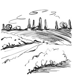 Landscape sketch tree and fields vector