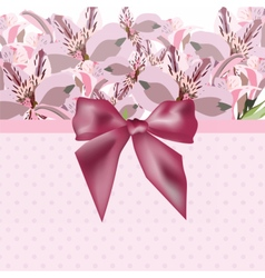 Lily flowers bouquet card vector image