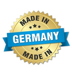 Made in germany gold badge with blue ribbon vector