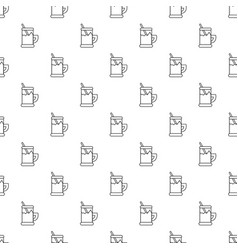 Metal glass cup tea pattern seamless vector