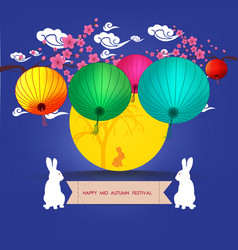 Mid autumn lantern festival full moon and rabbit vector