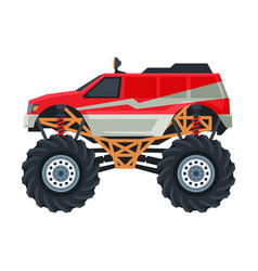 Monster truck vehicle colorful car with big vector