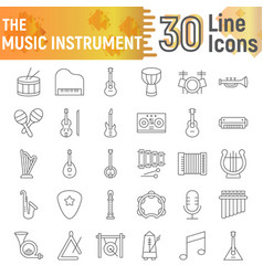 music instrument thin line icon set musical signs vector image