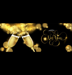 New year 2019 champagne glass toast banner vector