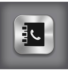 Notepad icon - metal app button vector