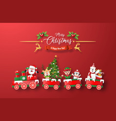Origami paper art christmas train with santa vector