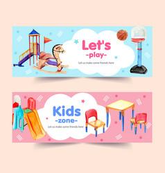 Playground banner design with slide basketball vector