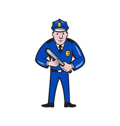Policeman With Night Stick Baton Standing vector