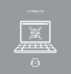 qr code on laptop - flat minimal icon vector image