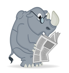 Rhino reading newspaper vector