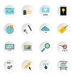 SEO icons set flat style vector image