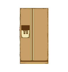 Sepia silhouette of fridge with water dispenser vector