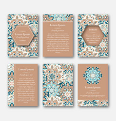 set of cards flyers brochures with mandala vector image