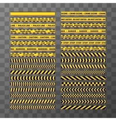 Set of different seamless yellow and black caution vector
